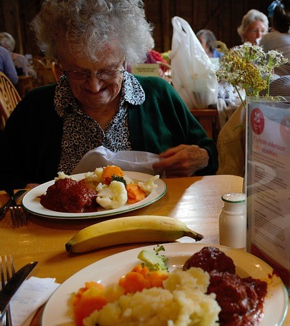 elderly eating