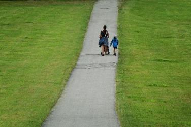 mom kids walking